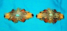 Set 2 Med Feathered Barrettes Pheasant Feathers & Turquoise FREE SHIPPING MBS12