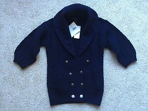 RALPH LAUREN Girls Navy Cable Knit Cardigan Shawl Sweater Wool ...