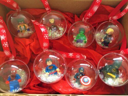 SUPERHERO Christmas tree baubles gift set present fits LEGO MARVEL DC COMICS