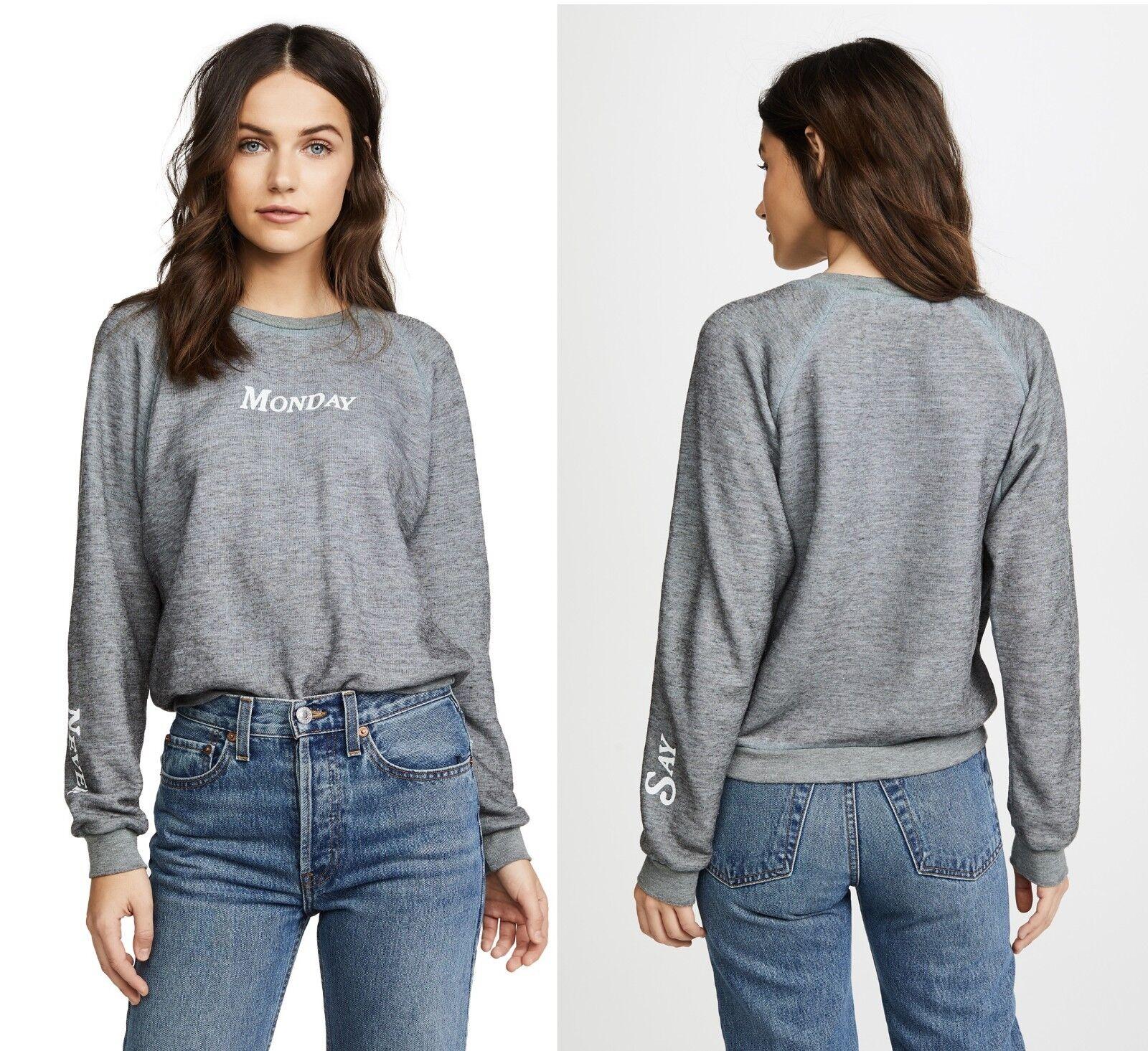 Wildfox Couture Women's Never Say Monday Sweater fleece sweatshirt Tshirt Top
