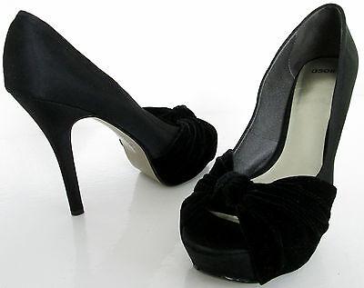Asos Talla 6 para mujer peeptoes Terciopelo Negro Satinado Tribunal Zapatos Tacones Altos Plataformas