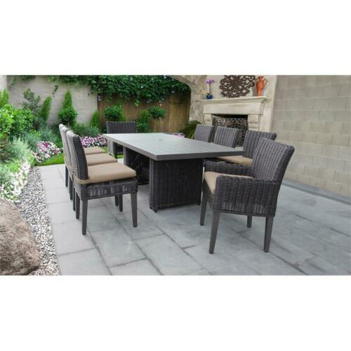 Venice Rectangular Patio Dining Table 6 Armless Chairs 2 Arm Chairs in Wheat 6091022335540