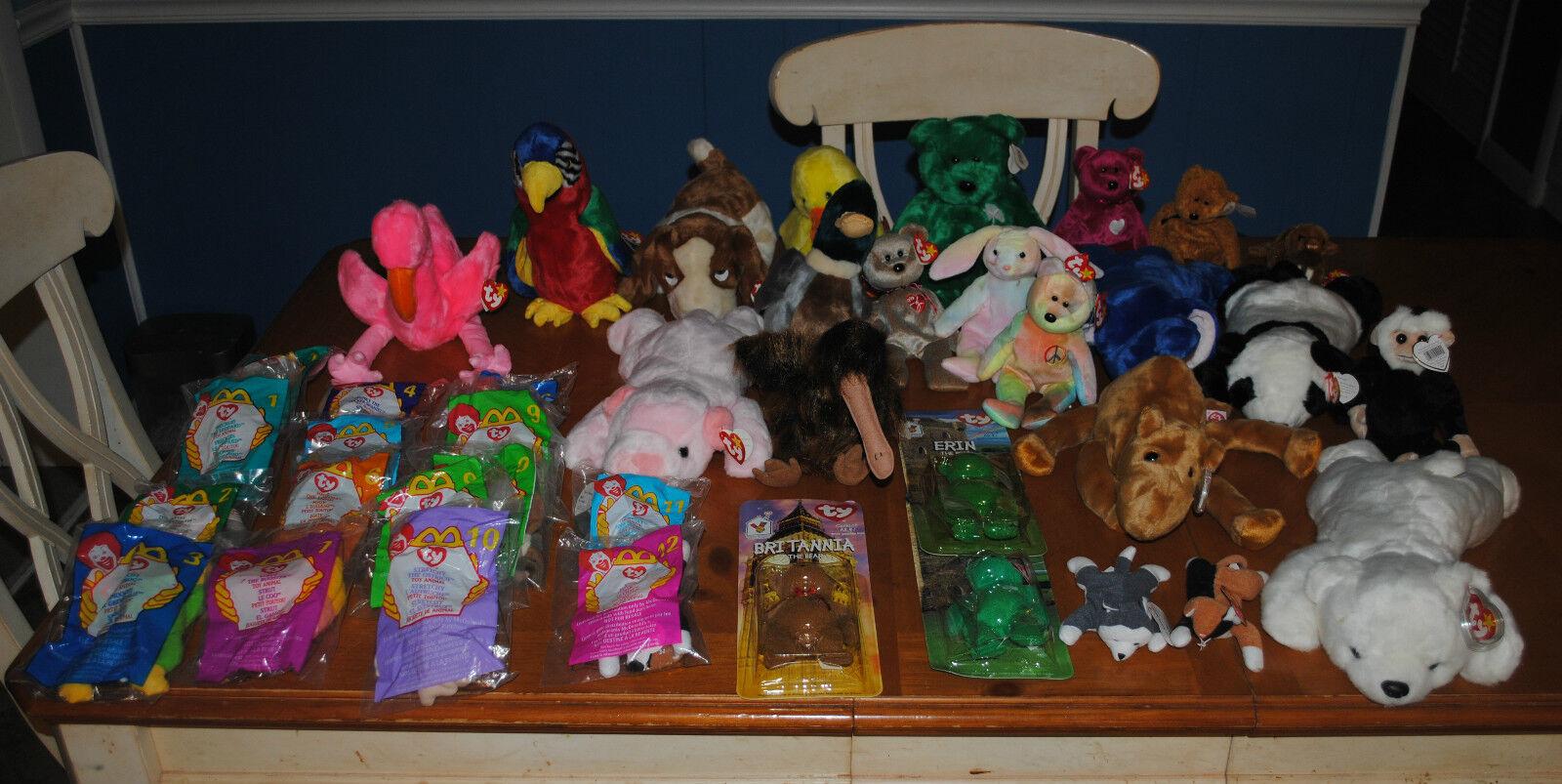 Énorme collection Lot TY Beanie Babies Buddies quelques rares