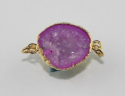 Awesome Blue Pink Natural Geode Druzy Gold Plated Single Bail Charms Connector