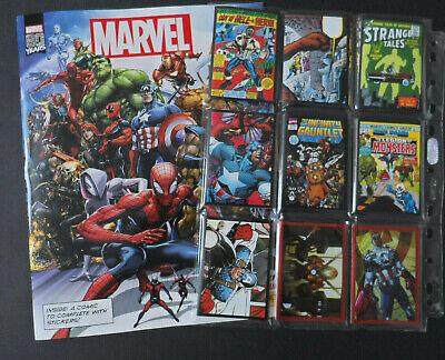 PANINI 80 ans MARVEL STICKER /& Cards 25 pochettes//125 stickers Avengers