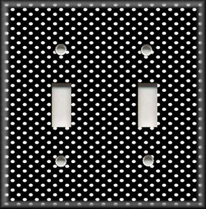 Metal Light Switch Plate Cover Black With White Mini Polka Dots