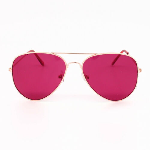 Classic Metal Pilot Style Women Men Wire Sunglasses Rose Gold Frame Solid Lens