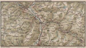 RAGATZCHURKLOSTERS Grusch Bad Ragaz Fideris Vintage map