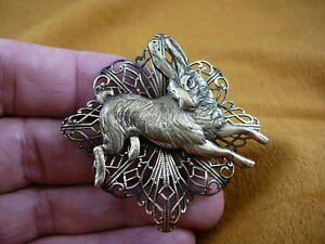 (b-bun-6) Bunny wild rabbit little Foo Foo hopping hare filigree pin pendant