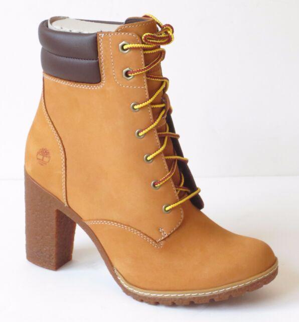 Timberland Women\u0027s Tillston 6 inch High Heel Wheat Leather Boots Style A1KJH
