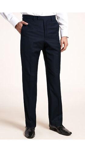 M&S Autograph Luxury Mens Trousers Wool Navy W30 L29 BNWT Waist 30 Inside Leg 29
