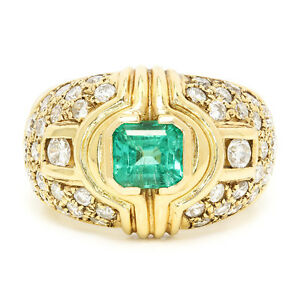 Vintage-Emerald-Ring-with-Diamonds-in-14kt-Yellow-Gold-1-75ctw-Bezel-Set
