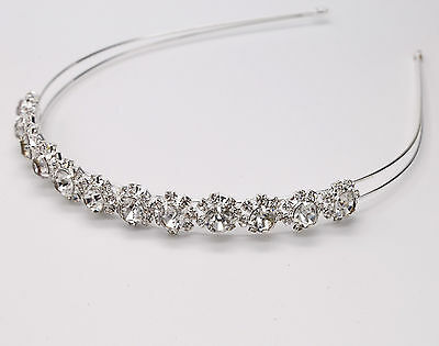 Bridal Plating Silver diamond Headband Crystal Rhinestone Crown Band Wedding UK