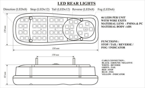 New 46 Led Rear Tail Lights Truck Lorry Fits Scania Volvo Daf Man Iveco 2 x 24v