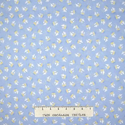 Baby Boy Nursery Blue Rattle Jumper Toss Cotton Fabric QT Baby Sprinkles Yard