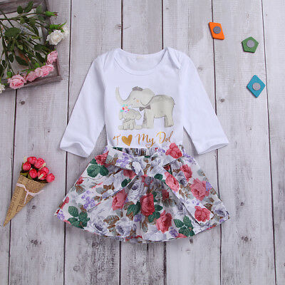 Newborn Infant Baby Girls Pink Cute Tops Romper Floral Skirts Outfit Set Clothes