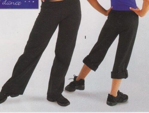 NWT CONVERTIBLE DANCER PANTS BLACK CAPRI converts to JAZZ pants Adult//Child Szs