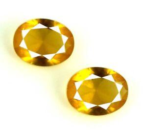 Ceylon Yellow Sapphire Loose Gemstone Pair 2.65 Ct Natural Oval AGI Certified