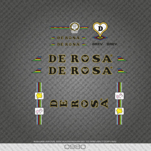 0980 De Rosa Bicycle Stickers Black /& Gold Transfers Decals