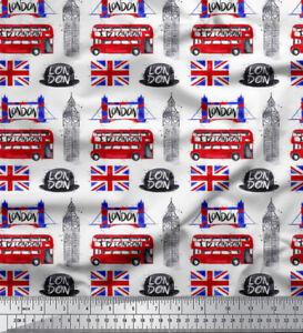 Soimoi Stoff london Thema architektonisch Dekorstoff 1 Meter bedruckt AT-511K