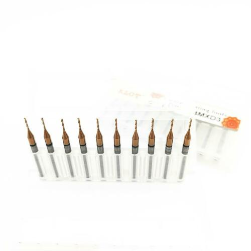KLOT 10pcs TiCN Coated Whole Solid Carbide PCB Micro Drill Bit 0.4-2.95mm HRC60