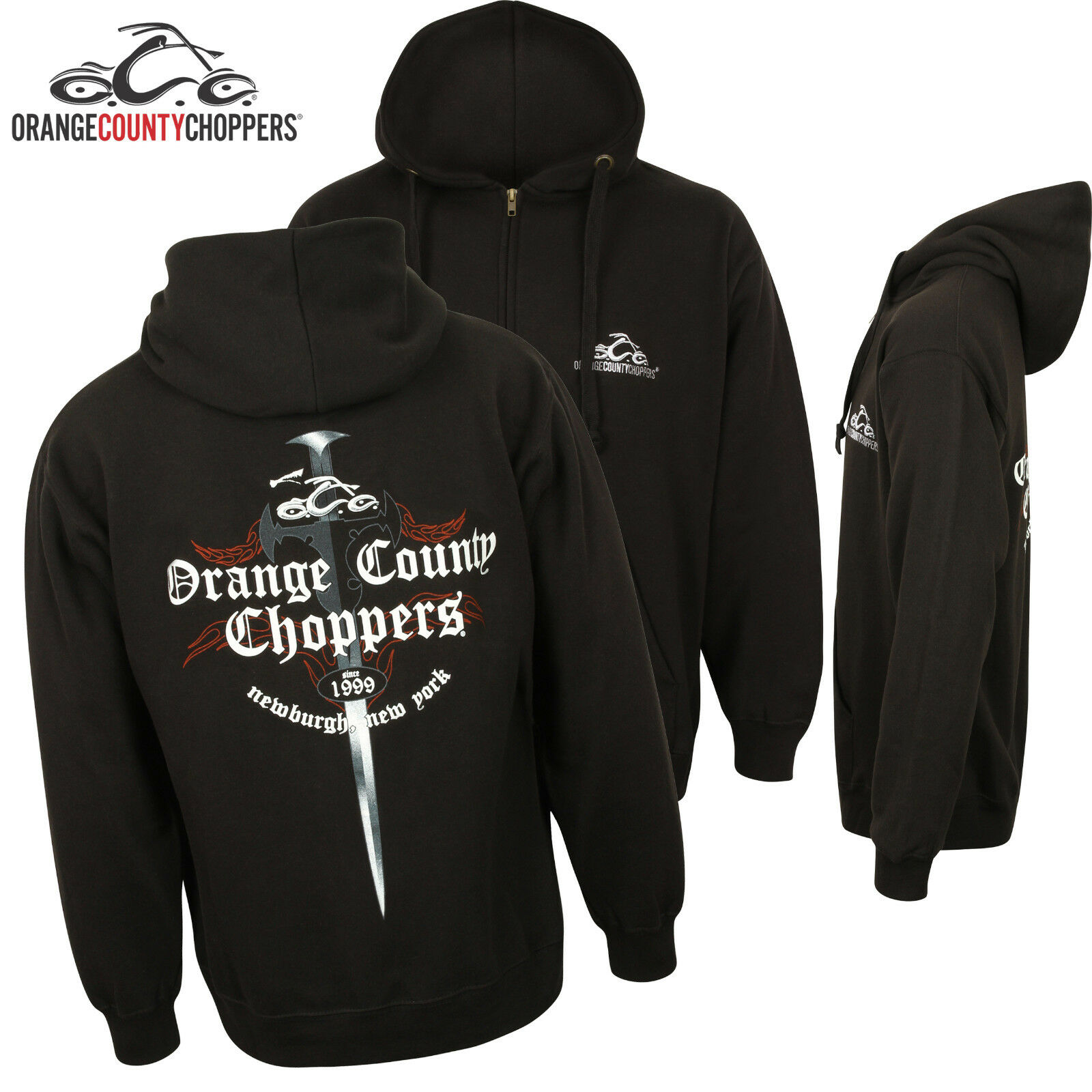 Orange County Choppers Zip Hoodie Genuine OCC American Biker Custom Clothing