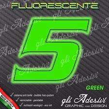 Adesivo Stickers NUMERO 5 moto auto cross gara Verde FLUORESCENTE 10 cm