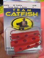 3 Team Catfish Fishing Dip Bait Tubes & 4x Strong Treble Fish Hooks / Size 4