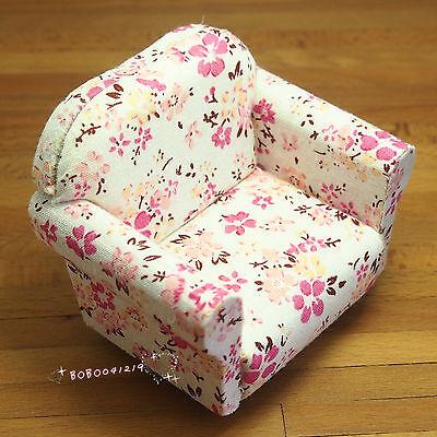 Dollhouse Miniature 1:12 Furniture Floral Sofa Chair Length 9cm SPO286