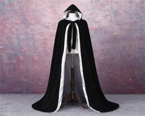 Details about  /ADULT VELVET HOODED CLOAK KING QUEEN RENAISSANCE MEDIEVAL COSTUME CAPE ROBE
