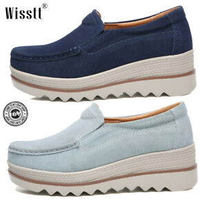 Women-039-s-Wedge-Heel-Shoes-Round-Toe-Platform-Slip-on-Suede-Comfy-College-Loafers