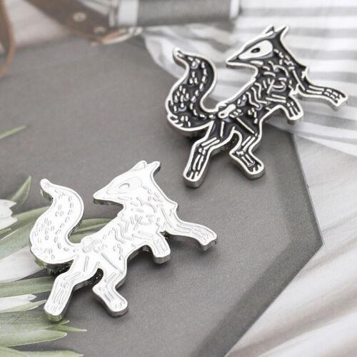 Fox Dog Animal Piercing Skull Brooch Pin Collar Lapel Breastpin Corsage Badge