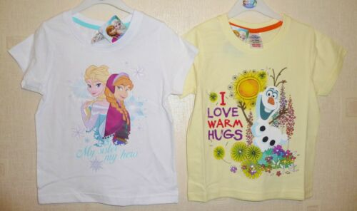 ELSA /& OLAF 2-3 up to 7-8 2 PACK OF BRAND NEW GIRLS DISNEY FROZEN T-SHIRTS ANNA