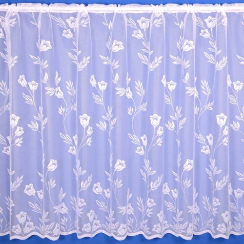 Preset Sizes Tilly Delicate Floral Net Curtain Finished In White