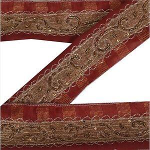 Embellishments & Finishes Sanskriti Vintage Dark Red Sari Border Hand Beaded Indian Craft Trim Ribbon Lace