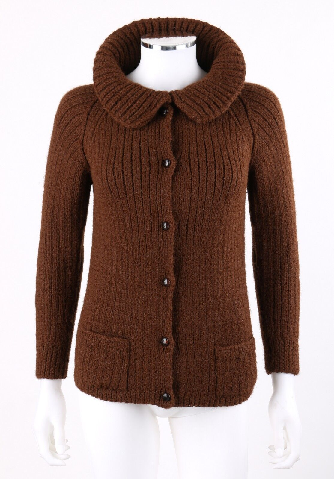 LYELL Brown Chunky Handknit Alpaca Rib Knit Button Up Cardigan Sweater XS Rare