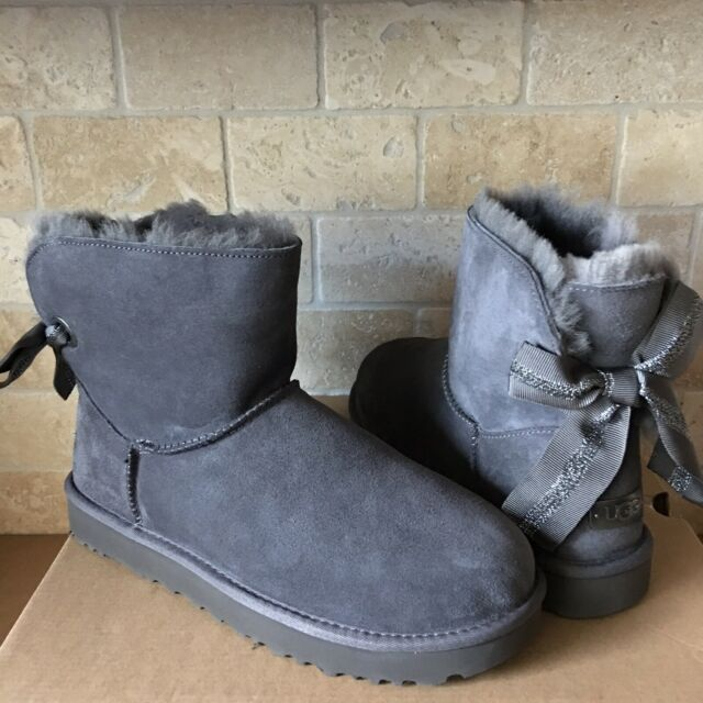 ee870dbf50c UGG CUSTOMIZABLE MINI BAILEY BOW CHARCOAL GREY GRAY SUEDE BOOTS SIZE 8  WOMENS