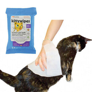 Petkin-Kitty-Wipes-15-Jumbo-7-5-034-x10-034-Wipes-in-Resealable-Pack-Cat-amp-Kitten-Safe