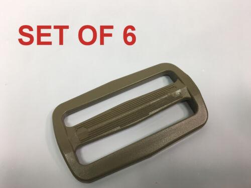 "ITW 2/"" Tri glide Sliplock Strap Adjust TAN//KHAKI Buckle Sling Plastic Slide"
