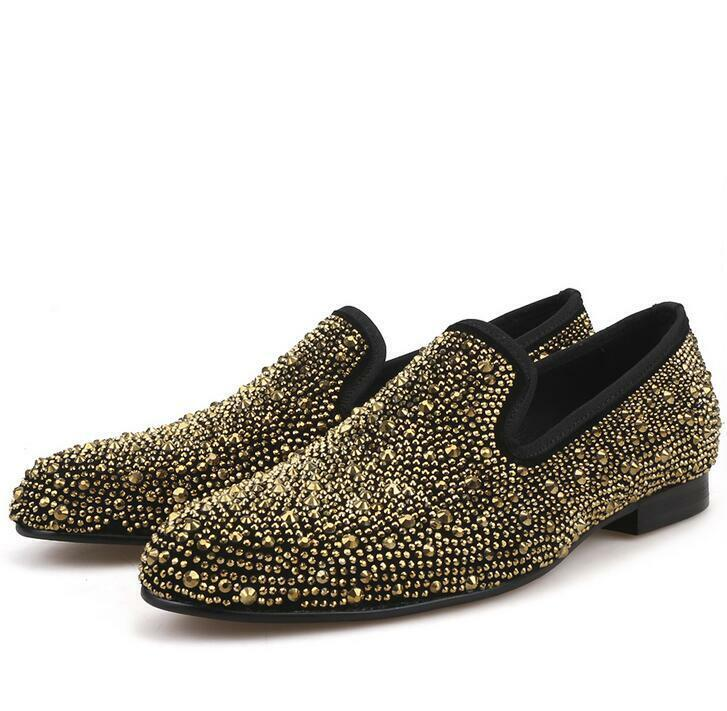 Mens Real Leather shiny gold gold gold rhinestone loafer nightclub party Slip On shoes Hot b91e12
