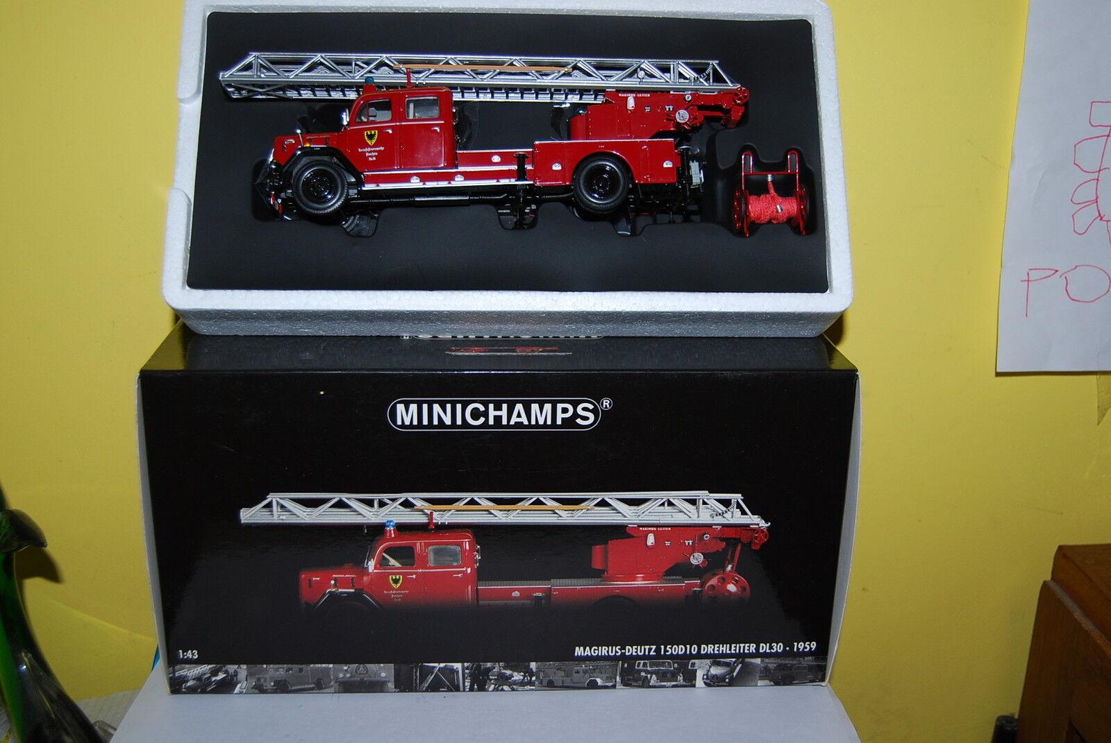 MINICHAMPS MAGIRUS DEUTZ 150D10 DREHLEITER DL30 DE1959 NEUF BOITE NEW BOX