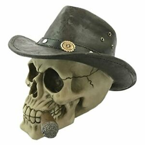 Skull-With-Adventurer-Hat-Fantasy-Ornament-Gothic-Resin-Skull-Figurine
