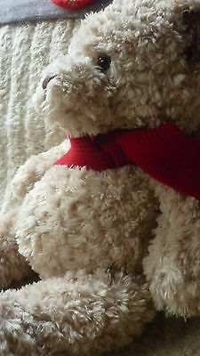 LARGE CUDDLY BHS TEDDY BEAR BEIGE BROWN CURLED FAUX FUR BEAR WEARING RED SCARF