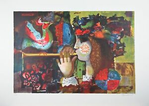 034-Flute-Player-034-von-Plaomeuedly-Lithographie-auf-Papier-Limitierte-Auflage-300