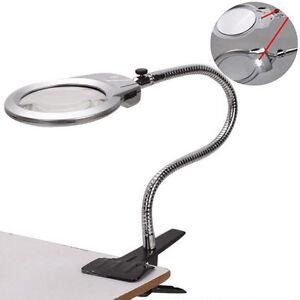 Image Is Loading Large Lens Lighted Lamp Top Desk Magnifier Magnifying