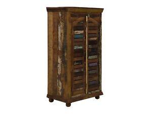 Details Zu Kleiderschrank 80x147x40 Holz Recycelt Bunt Antik Schlafzimmer Massivum Avadi