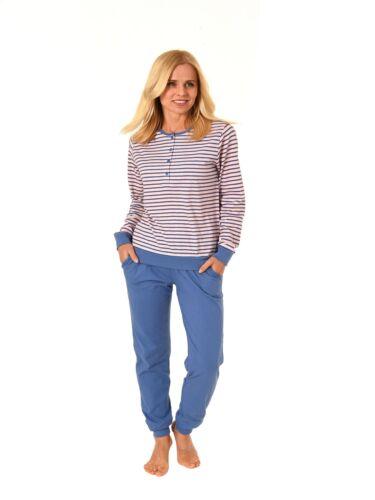 Damen Pyjama Schlafanzug langarm mit Bündchen von NORMANN in Streifen Optik