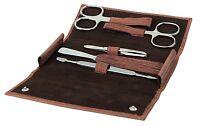 Becker-manicure Erbe Solingen 5 Pcs Set Manicure Case Wood-look Men's Leather
