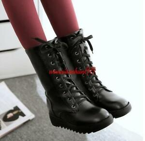 Womens-Platform-shoes-flat-hidden-heel-lace-up-winter-fur-lined-mid-calf-boots