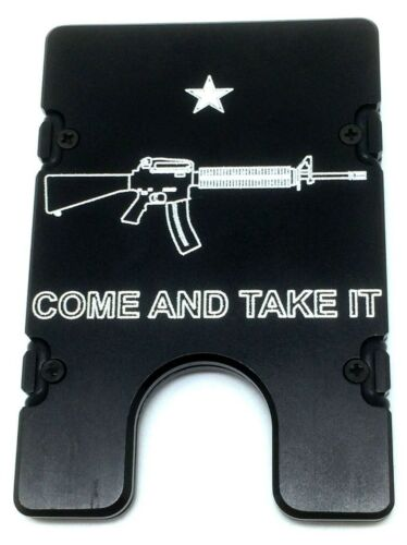 BilletVault Wallet Aluminum RFID protected black anodized,Come and Take It Ar-15